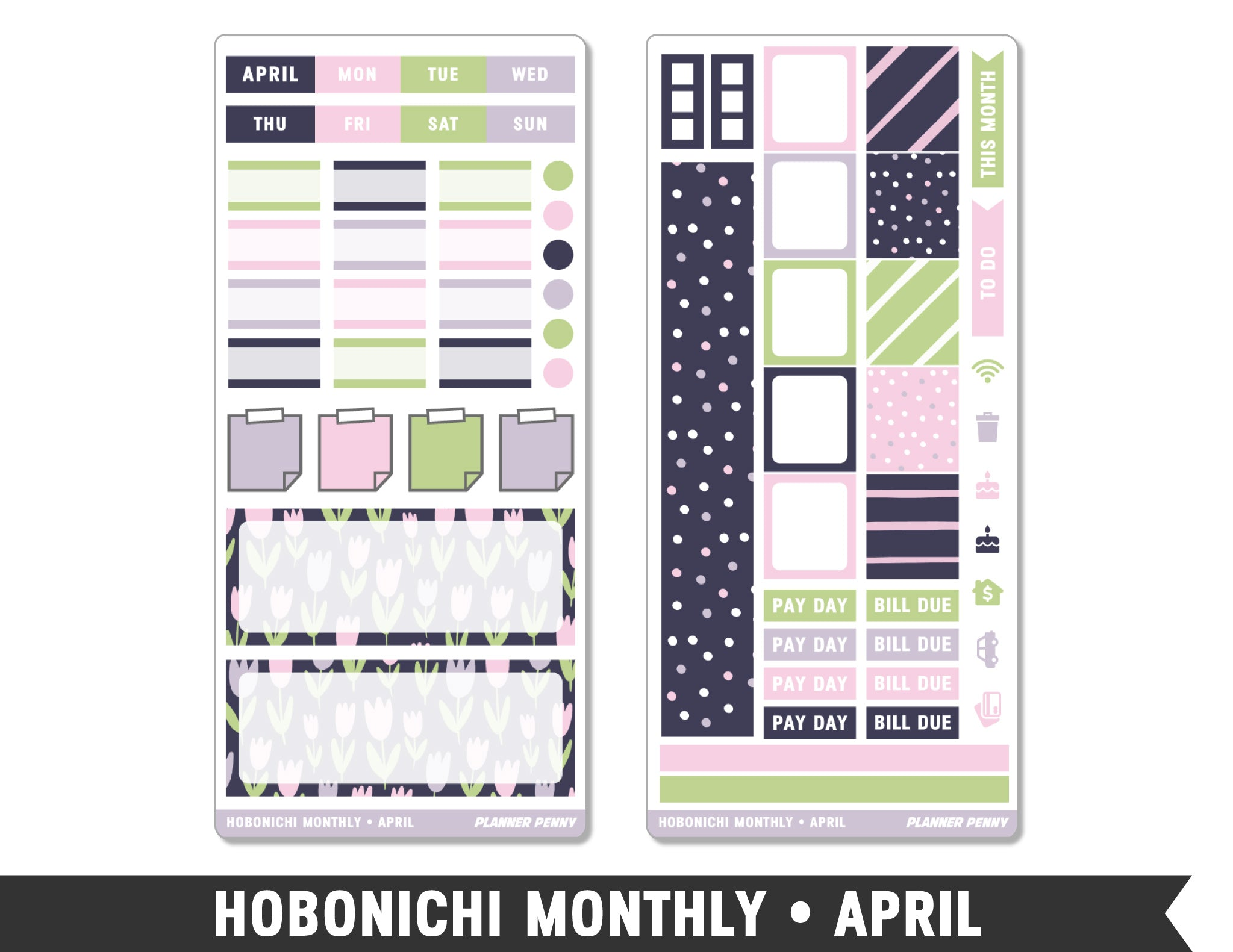 Hobonichi Weeks • April • Monthly Spread Planner Stickers - Planner Penny