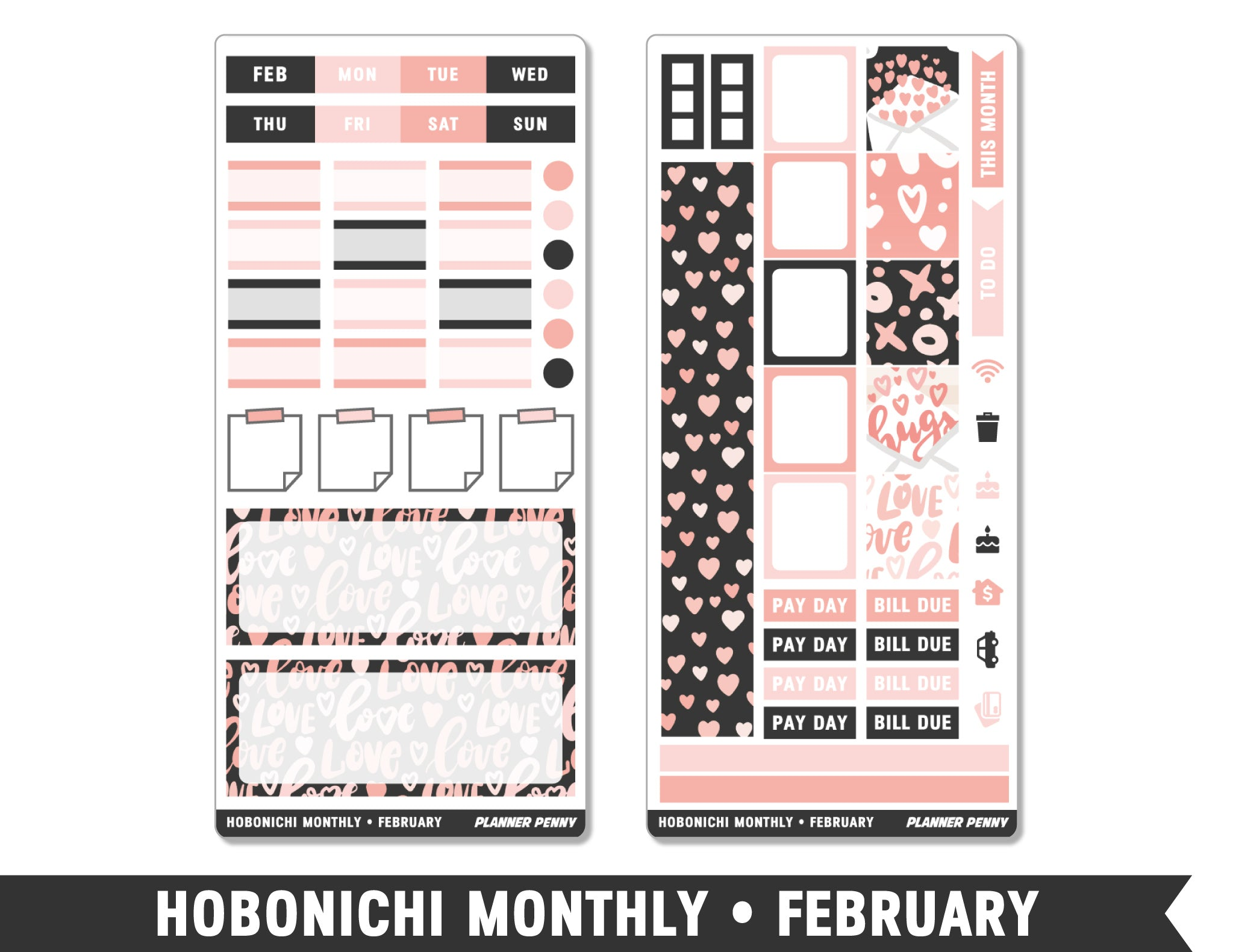 Hobonichi Monthly • February • Monthly Spread Planner Stickers - Planner Penny