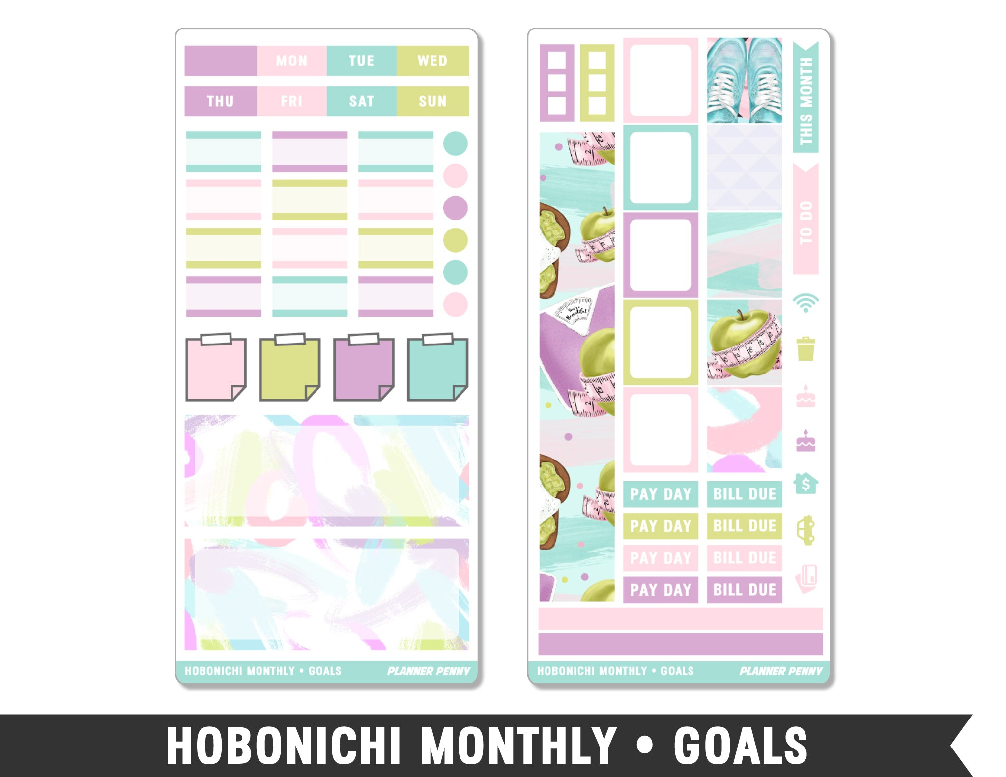 Hobonichi Monthly • Goals • Monthly Spread Planner Stickers - Planner Penny