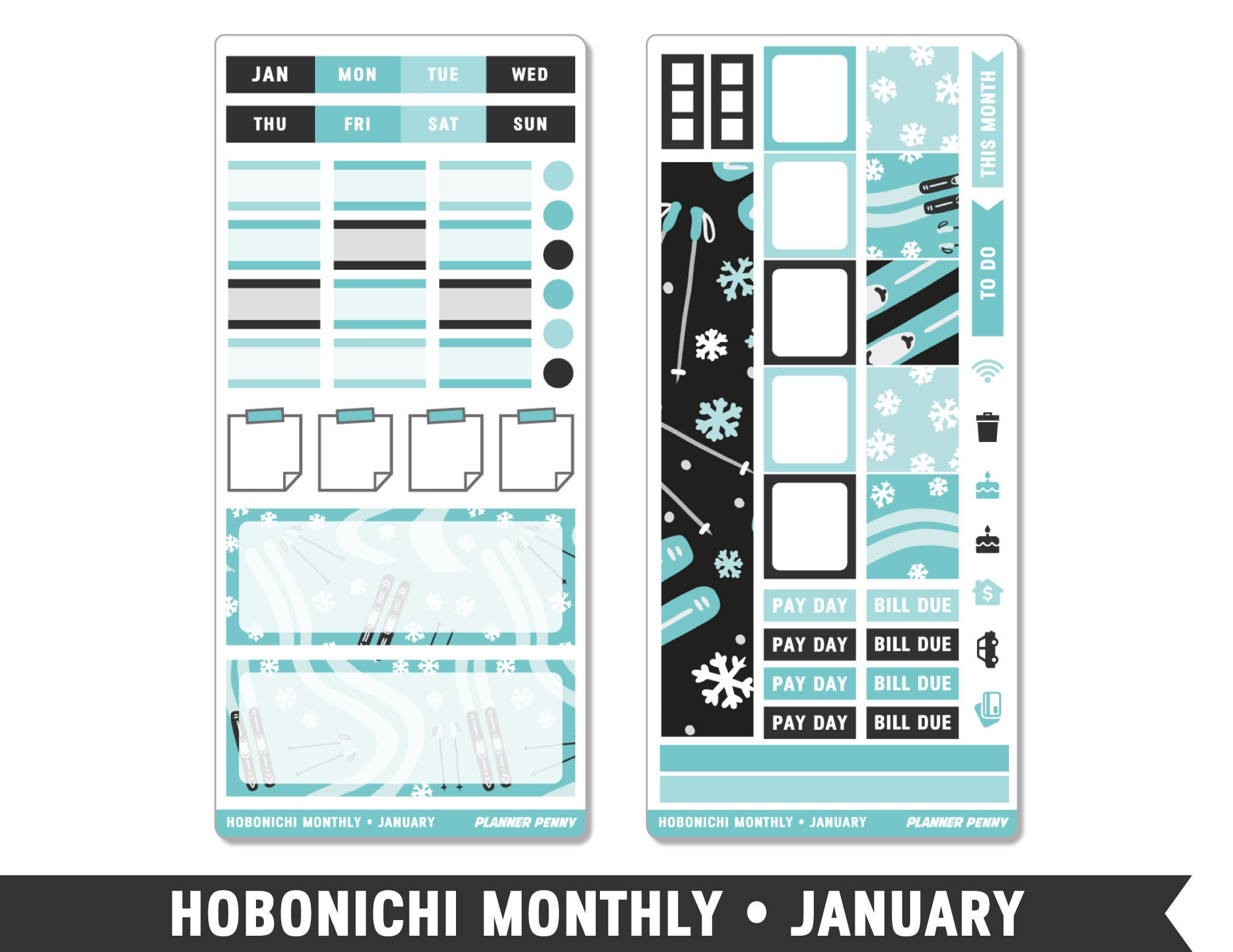 Hobonichi Weeks • January • Monthly Spread Planner Stickers - Planner Penny