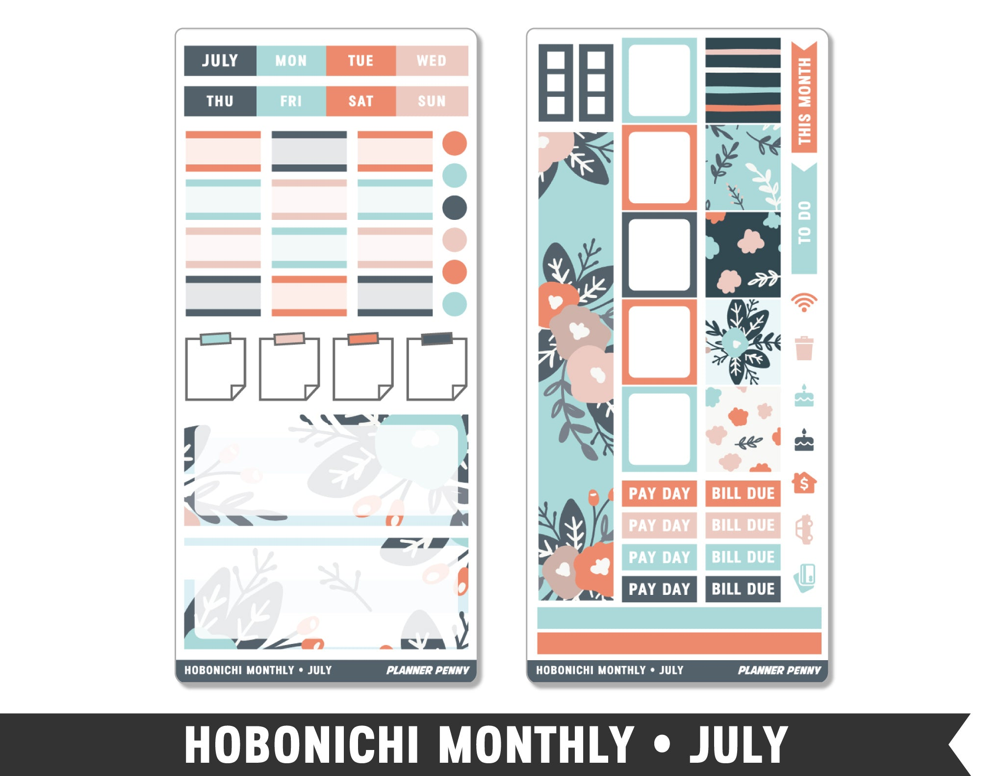 Hobonichi Monthly • July • Monthly Spread Planner Stickers - Planner Penny