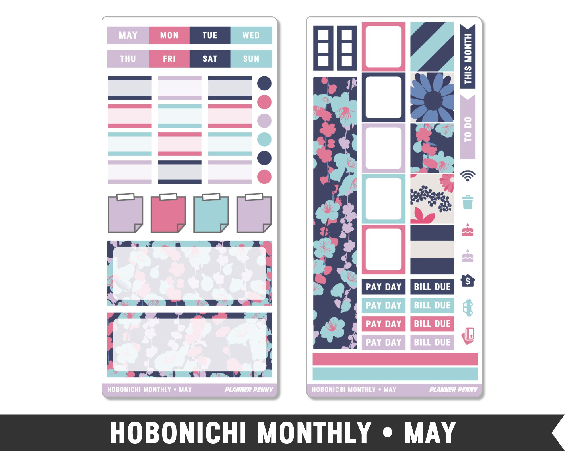 Hobonichi Monthly • May • Monthly Spread Planner Stickers - Planner Penny