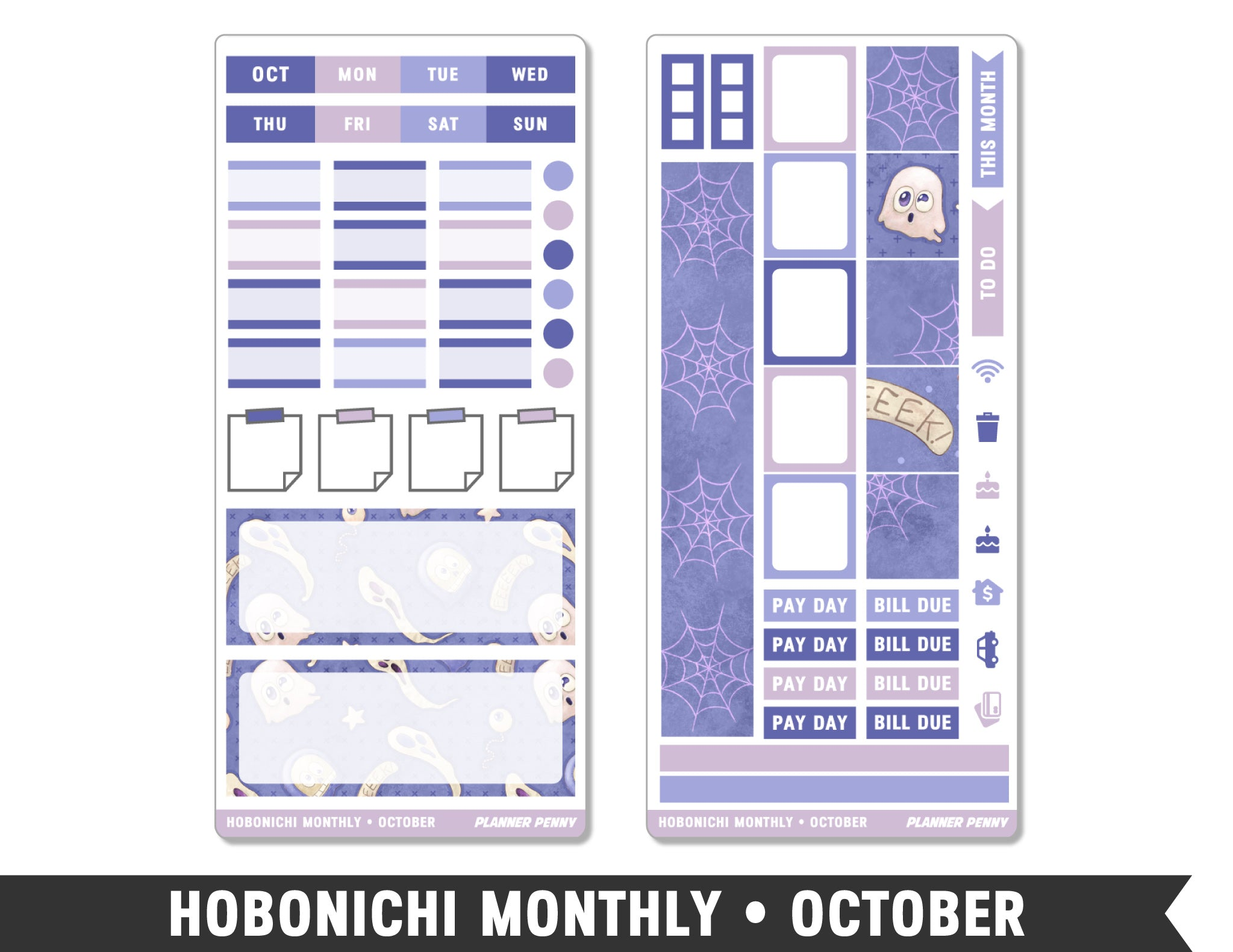 Hobonichi Weeks • October • Monthly Spread Planner Stickers - Planner Penny