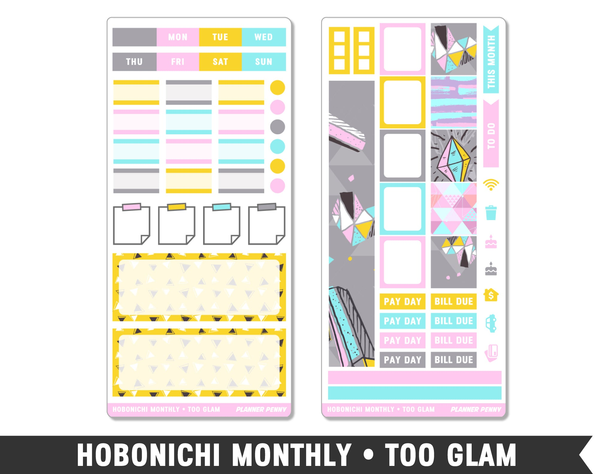 Hobonichi Monthly • Too Glam • Monthly Spread Planner Stickers - Planner Penny