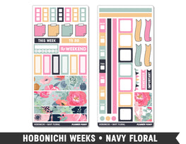 Hobonichi Weeks • Navy Floral • Weekly Spread Planner Stickers - Planner Penny