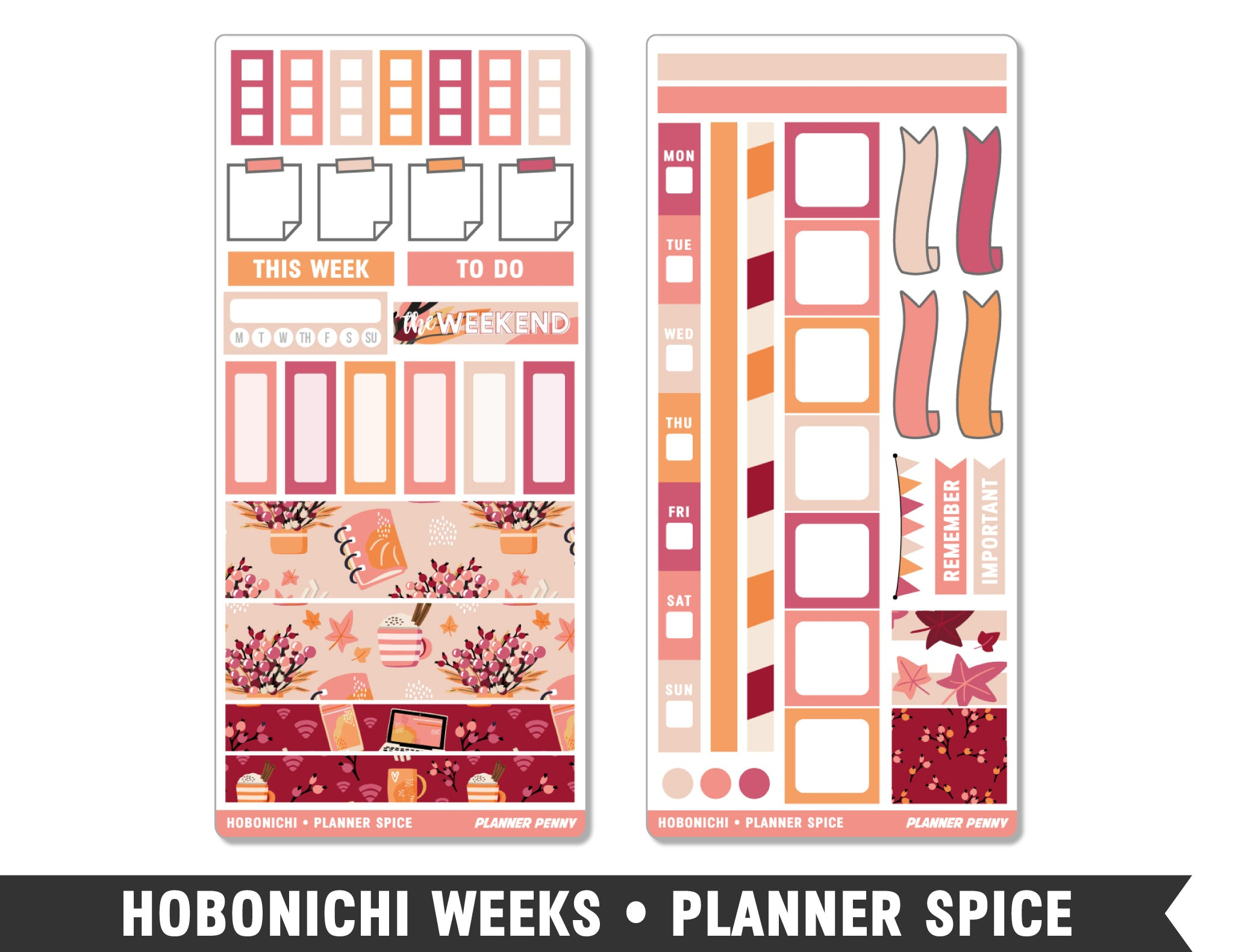 Hobonichi Weeks • Planner Spice • Weekly Spread Planner Stickers - Planner Penny
