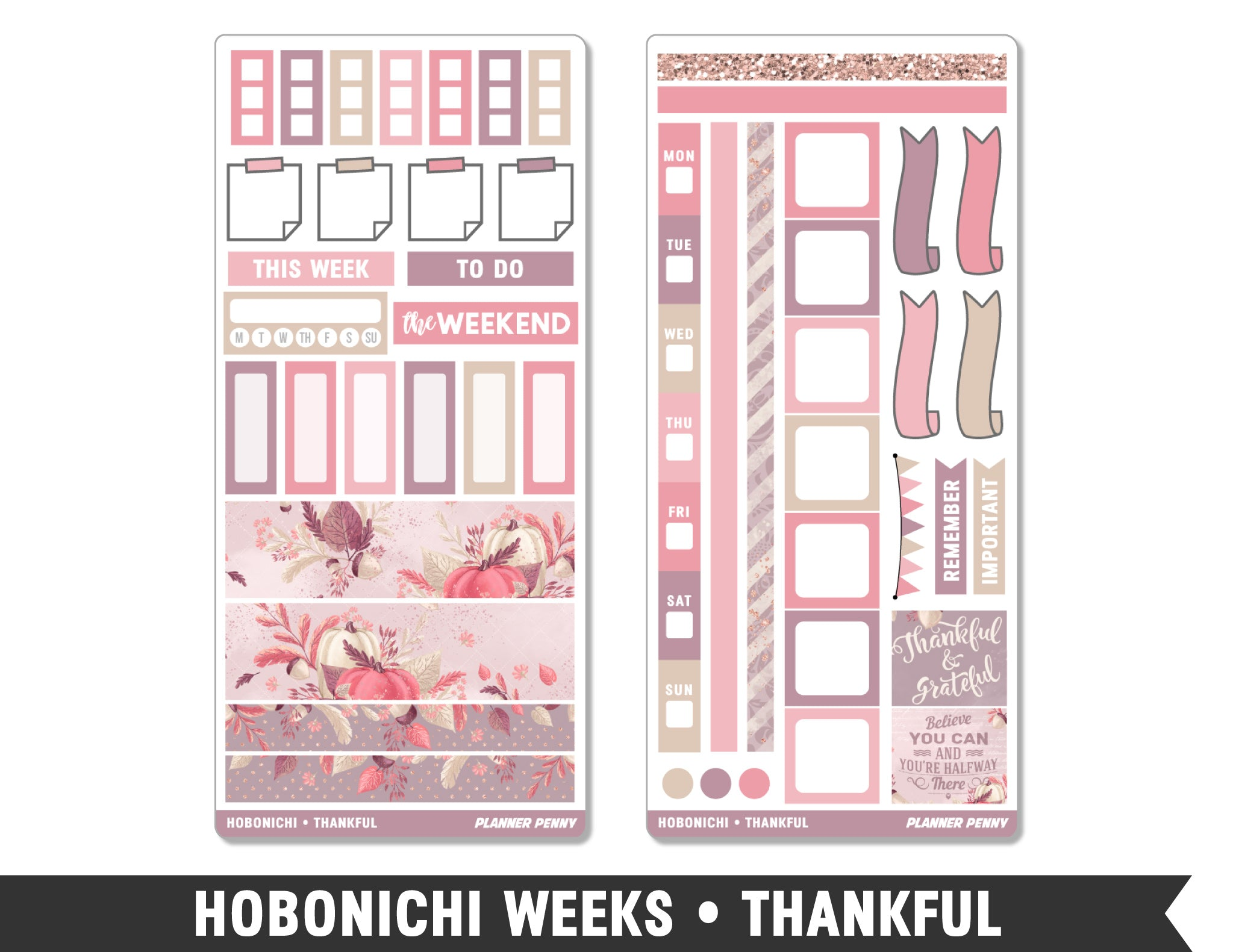 Hobonichi Weeks • Thankful • Weekly Spread Planner Stickers - Planner Penny
