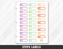 Steps Labels Planner Stickers - Planner Penny