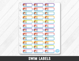 Swim Labels Planner Stickers - Planner Penny