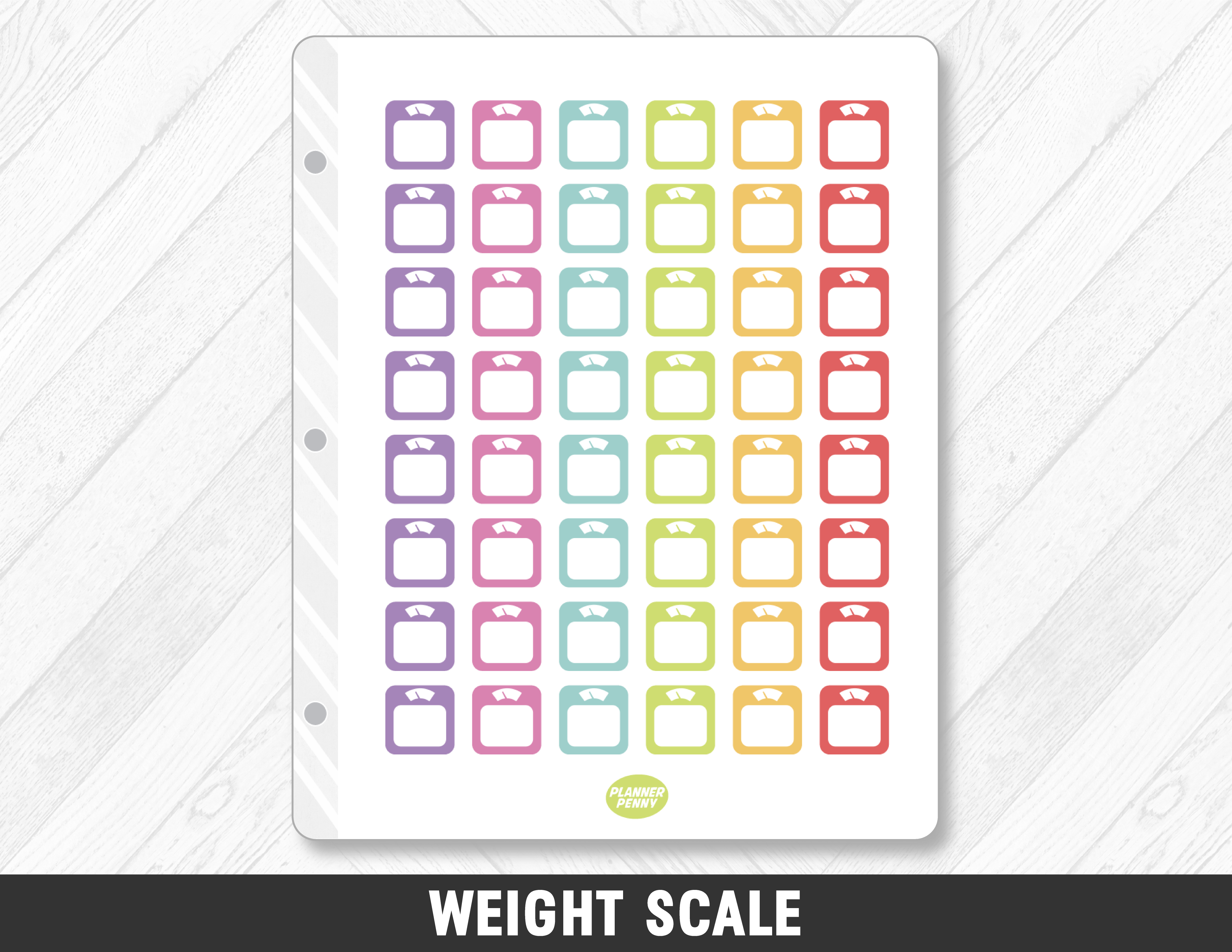 Weight Scale Planner Stickers