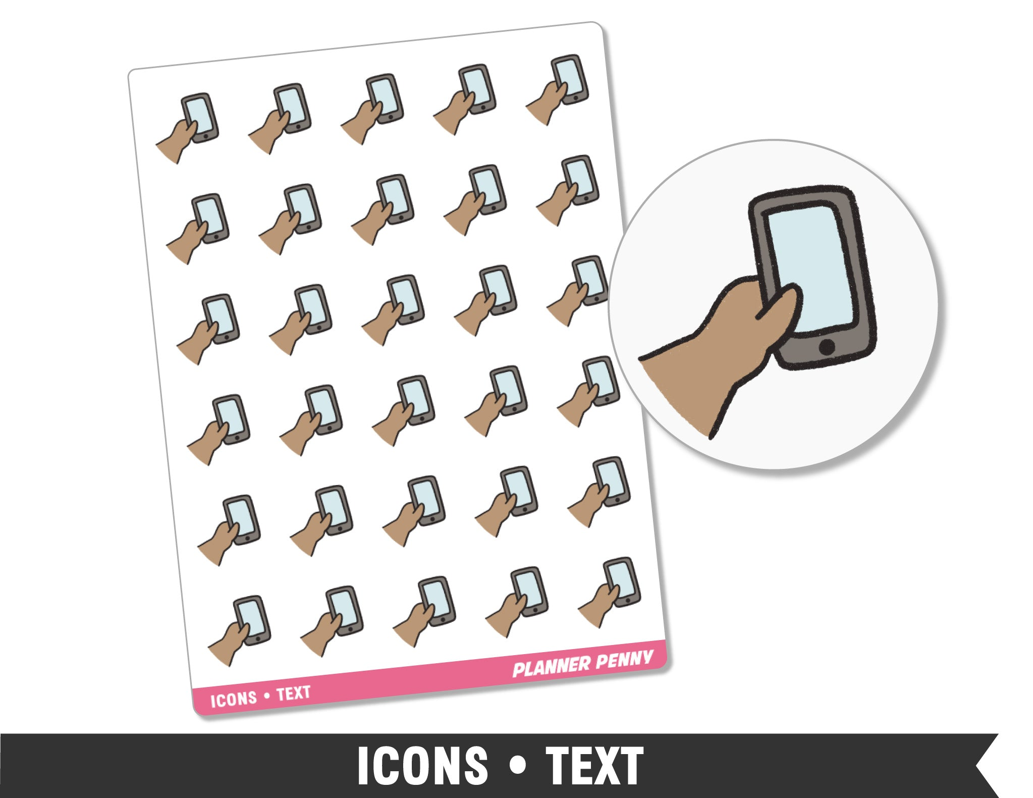 Icons • Text • Planner Stickers - Planner Penny