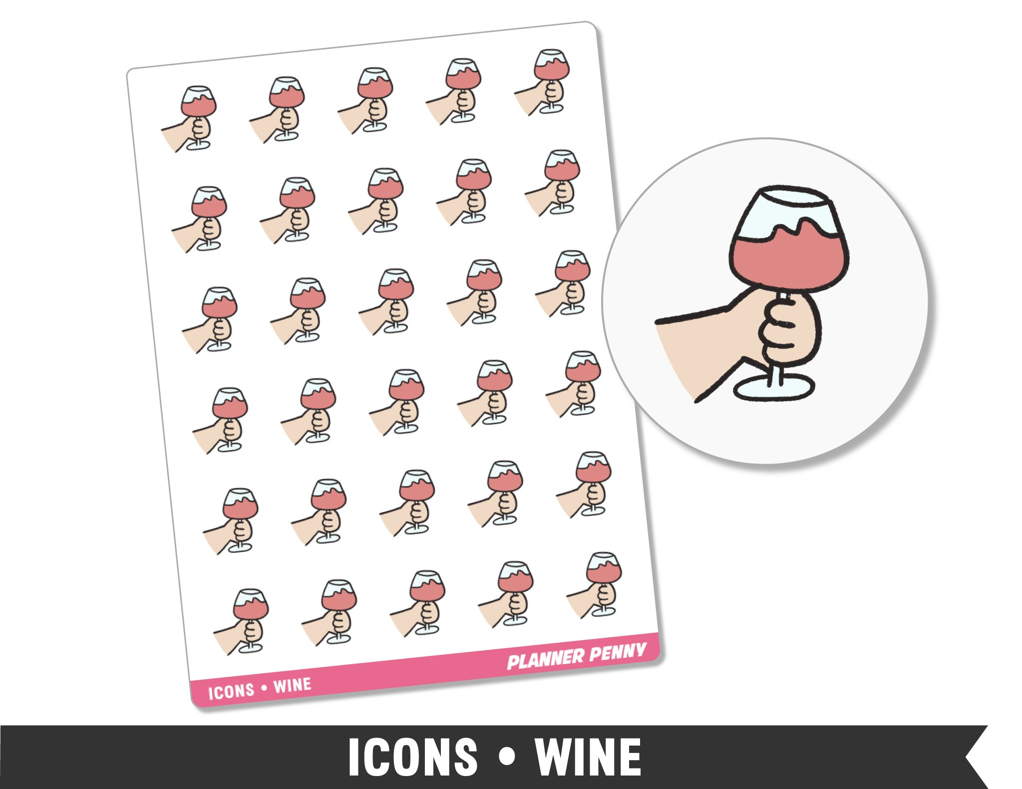 Icons • Wine • Planner Stickers - Planner Penny
