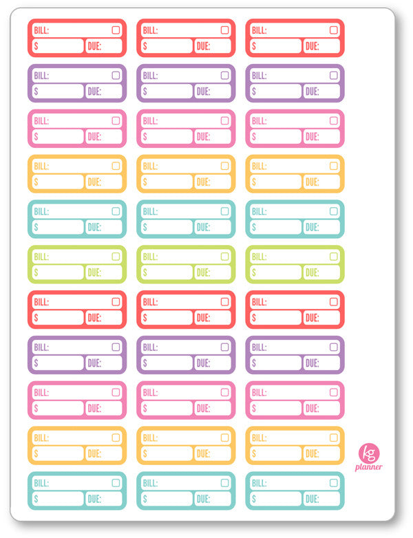 Bill Labels PDF PRINTABLE Planner Stickers - Planner Penny