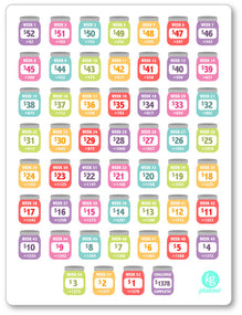 REVERSE Rainbow 52 Week Money Challenge PDF PRINTABLE Planner Stickers