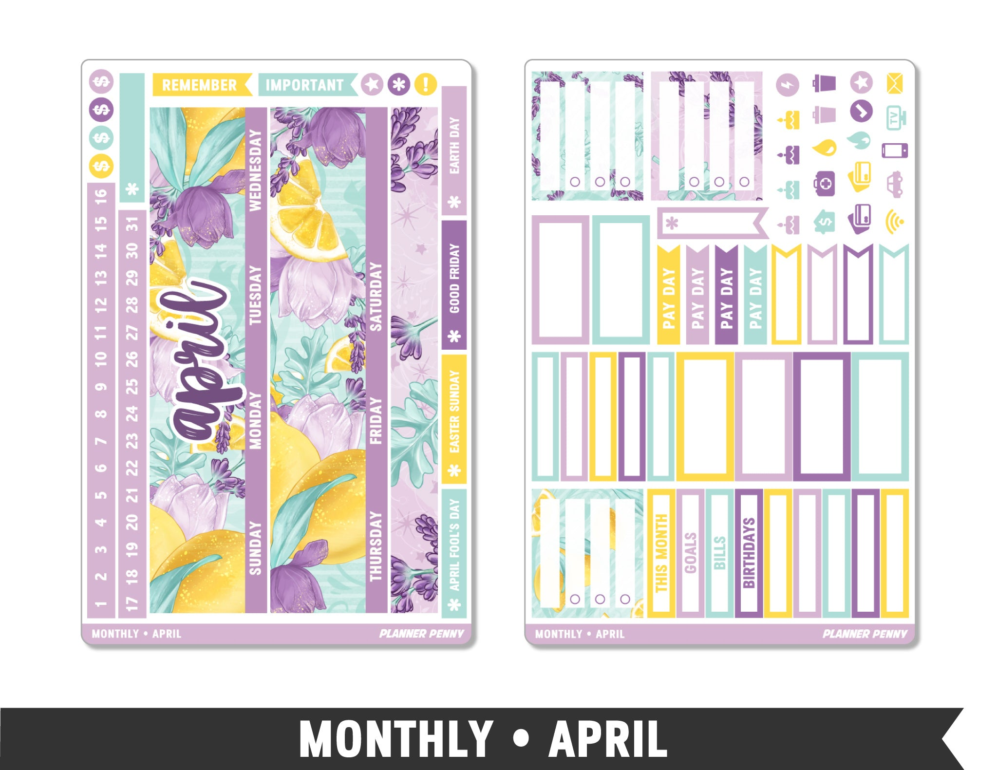 Monthly Collection • April Planner Stickers - Planner Penny