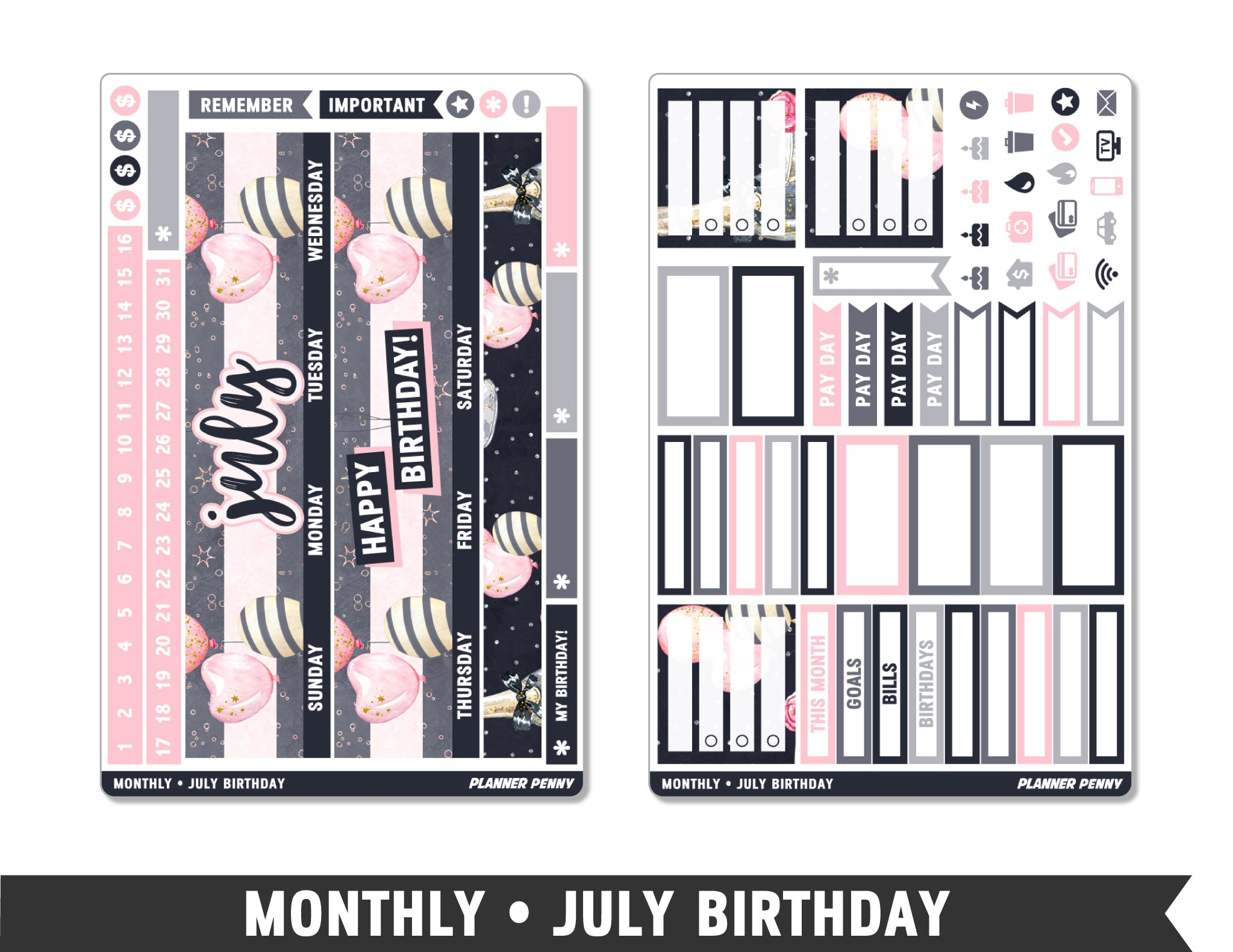 Monthly Collection • Birthday Month (Choose Your Month) Planner Stickers - Planner Penny