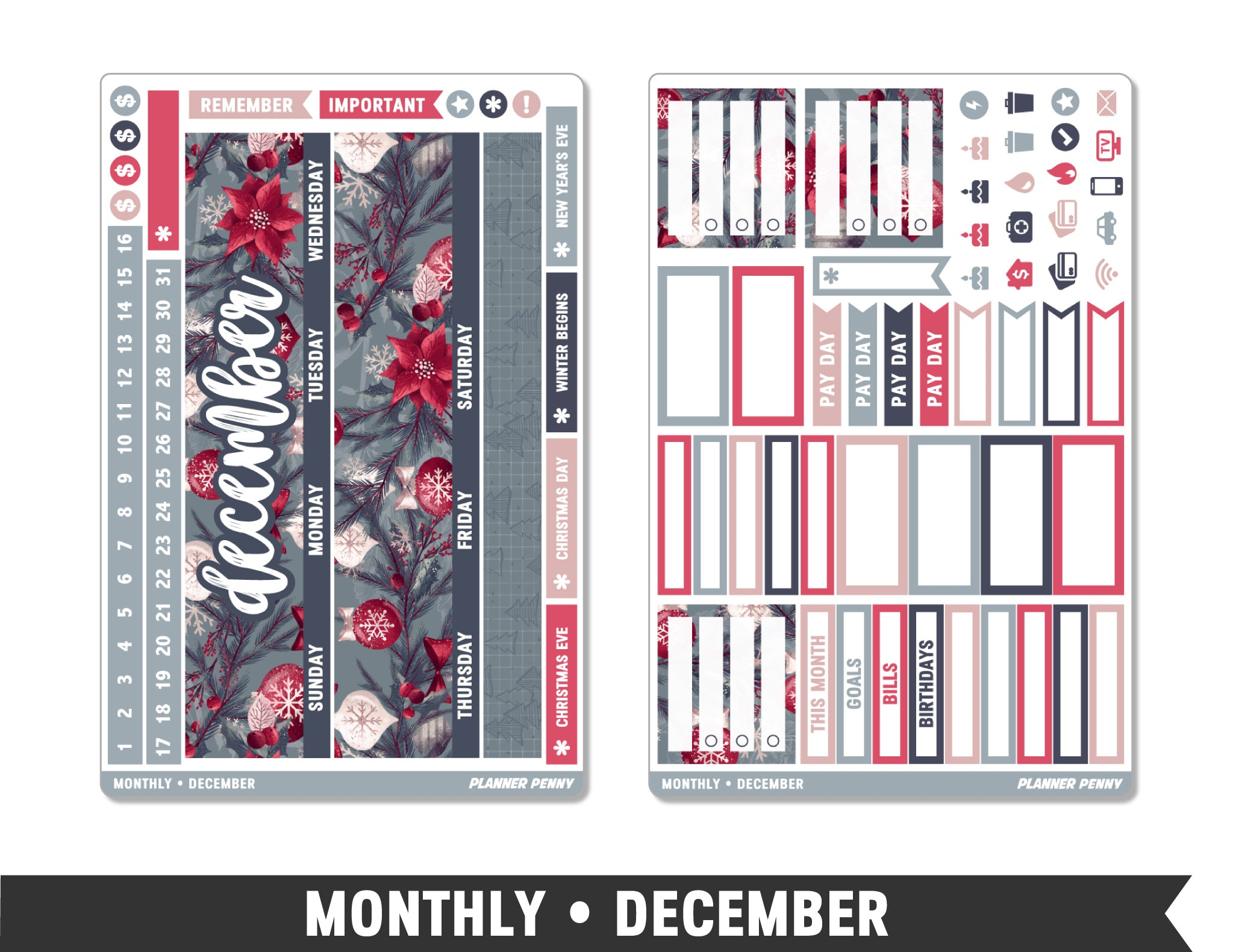 Monthly Collection • December Planner Stickers - Planner Penny