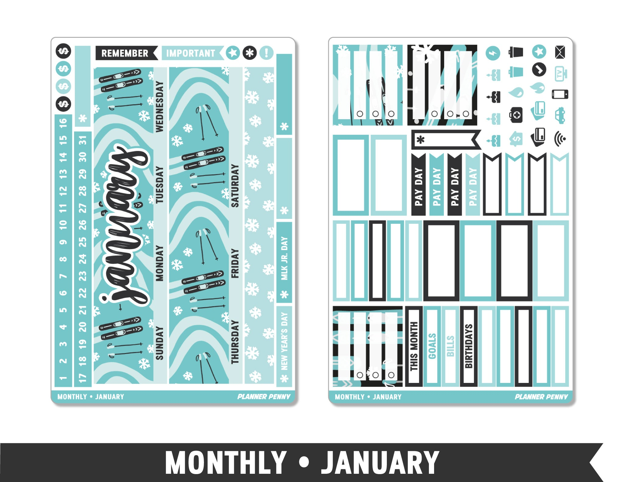 Monthly Collection • January Planner Stickers - Planner Penny