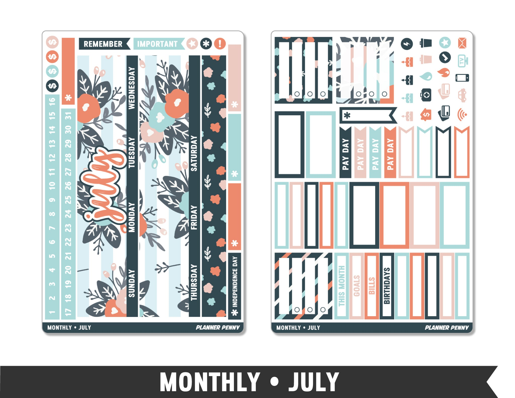 Monthly Collection • July Planner Stickers - Planner Penny