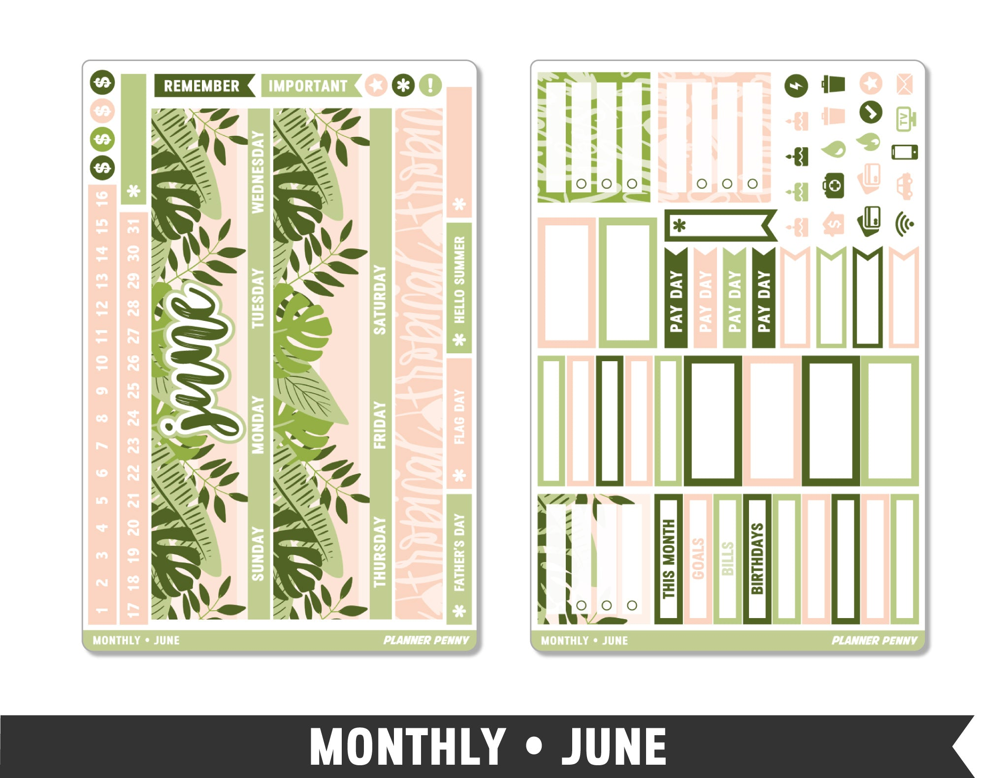 Monthly Collection • June Planner Stickers - Planner Penny