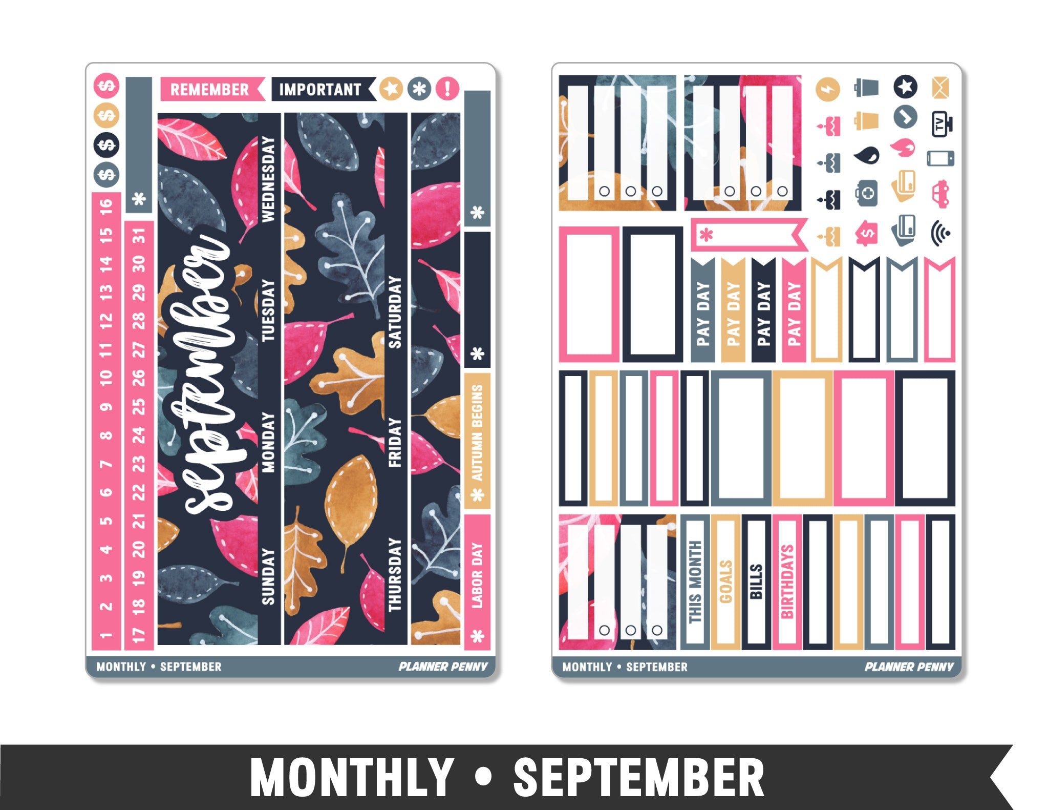 Monthly Collection • September Planner Stickers - Planner Penny