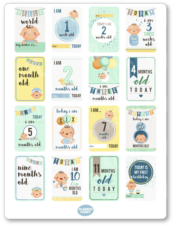 Baby Boy Growth PDF PRINTABLE Planner Stickers - Planner Penny