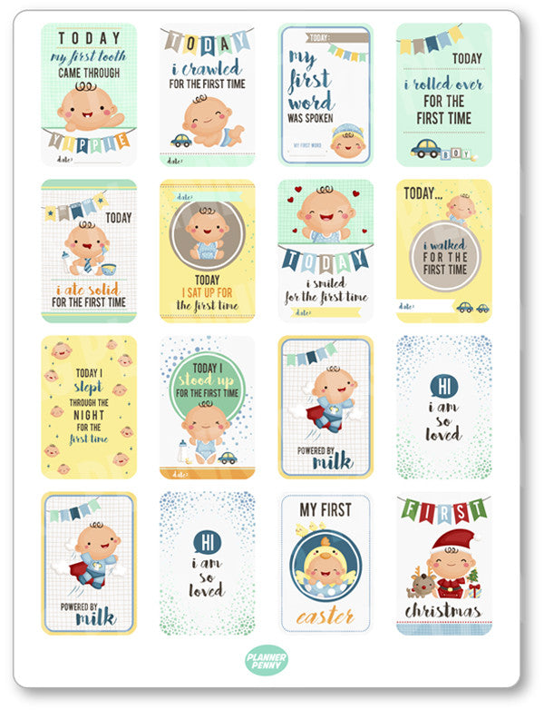 Baby Boy Milestones PDF PRINTABLE Planner Stickers - Planner Penny