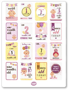 Baby Girl Growth PDF PRINTABLE Planner Stickers - Planner Penny