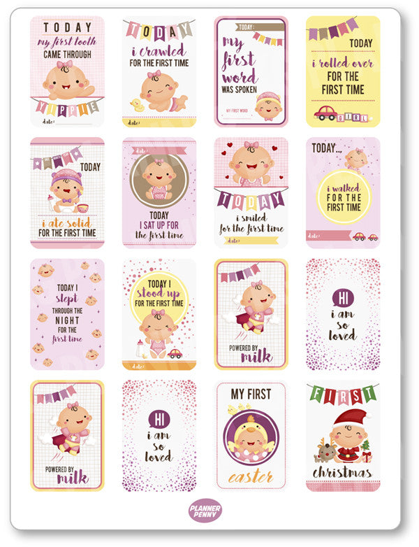 Baby Girl Milestones PDF PRINTABLE Planner Stickers - Planner Penny