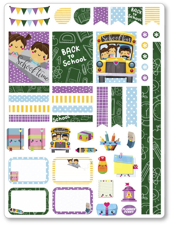 Back To School Decorating Kit PDF PRINTABLE Planner Stickers - Planner Penny