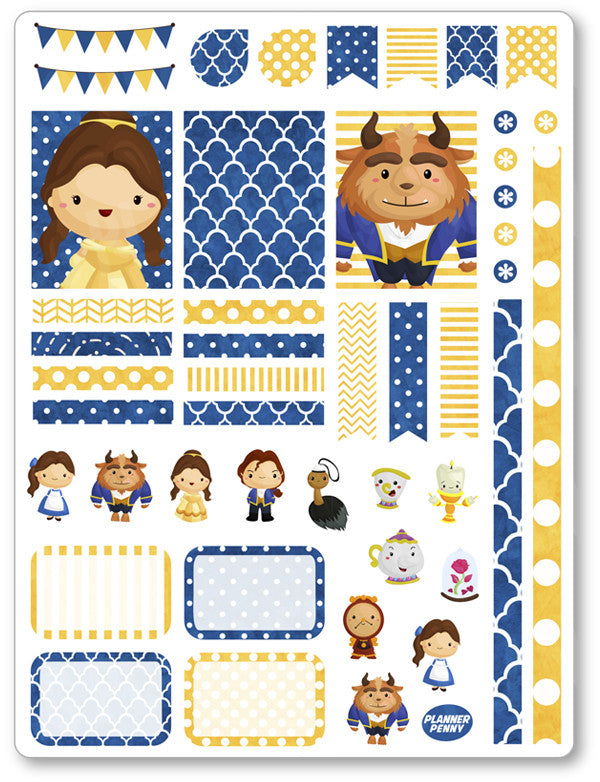 Beauty/Beast Decorating Kit PDF PRINTABLE Planner Stickers - Planner Penny