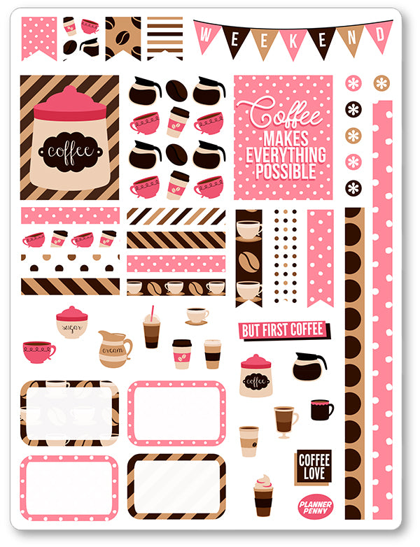 But First Coffee Decorating Kit PDF PRINTABLE Planner Stickers - Planner Penny