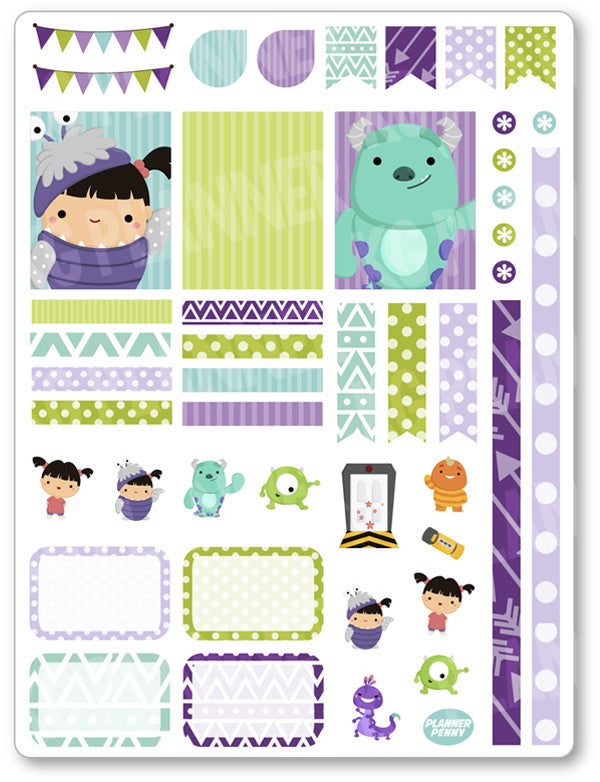 Cute Girl and Monster Decorating Kit PDF PRINTABLE Planner Stickers - Planner Penny