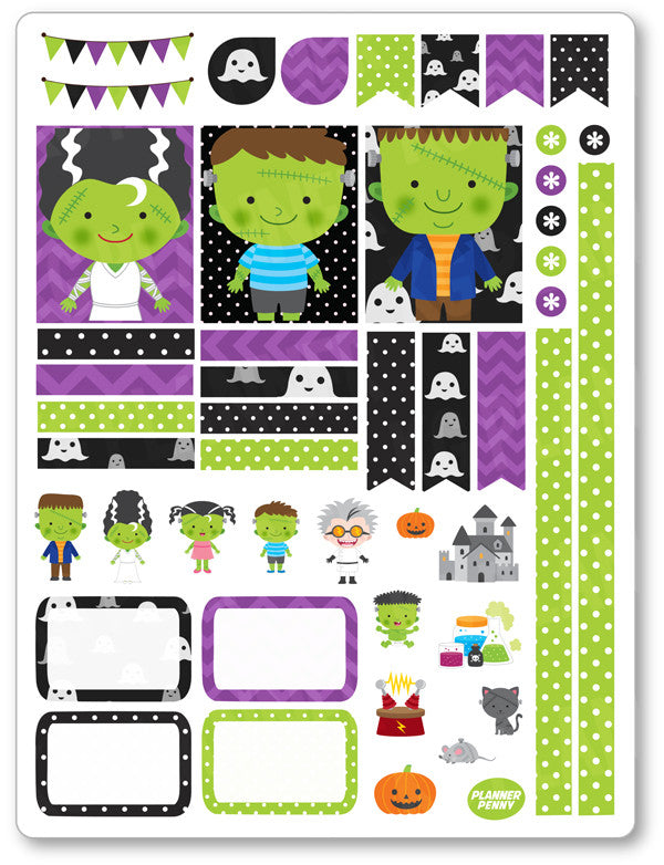 Franken Family Decorating Kit PDF PRINTABLE Planner Stickers - Planner Penny