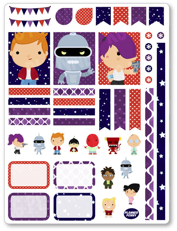 Future Boy Decorating Kit PDF PRINTABLE Planner Stickers