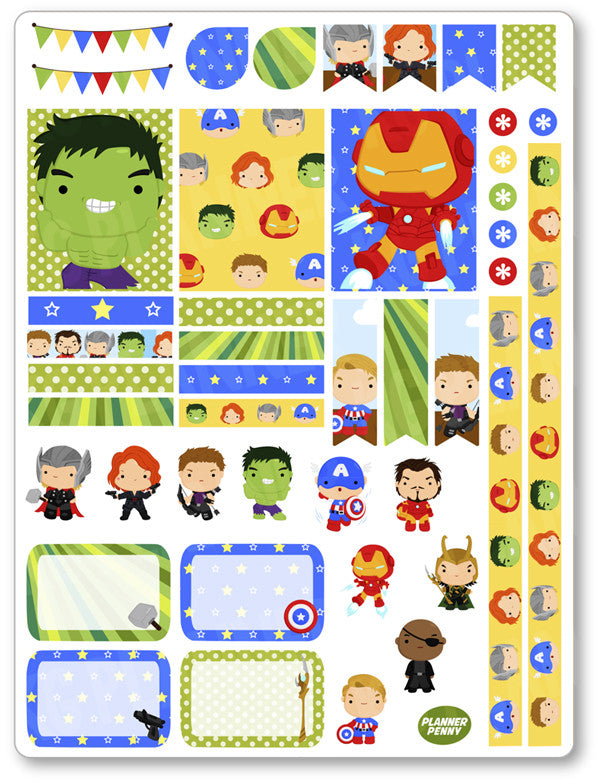 photograph regarding Printable Heroes Pdf titled Heroes Avenging Decorating Package PDF PRINTABLE Planner Stickers