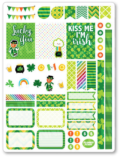 Irish Kawaii Decorating Kit PDF PRINTABLE Planner Stickers - Planner Penny