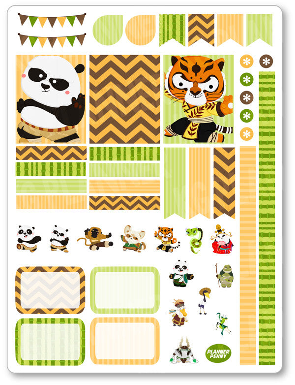 Kung Fu Friends Decorating Kit PDF PRINTABLE Planner Stickers - Planner Penny