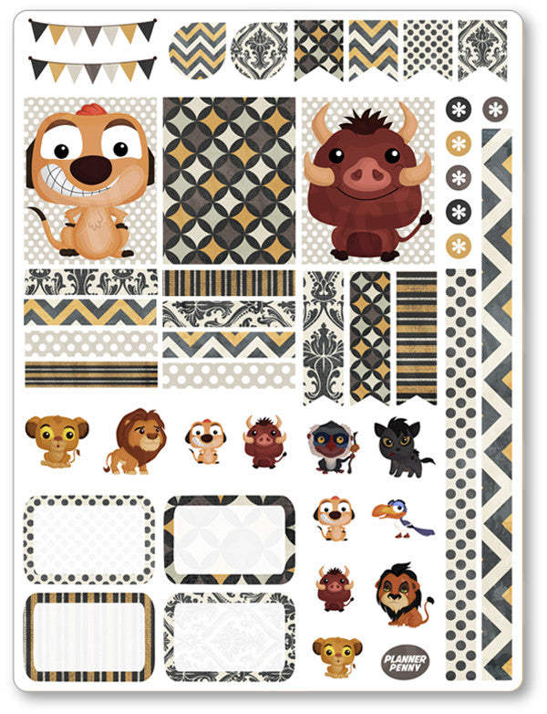 Lion Friends Decorating Kit PDF PRINTABLE Planner Stickers - Planner Penny