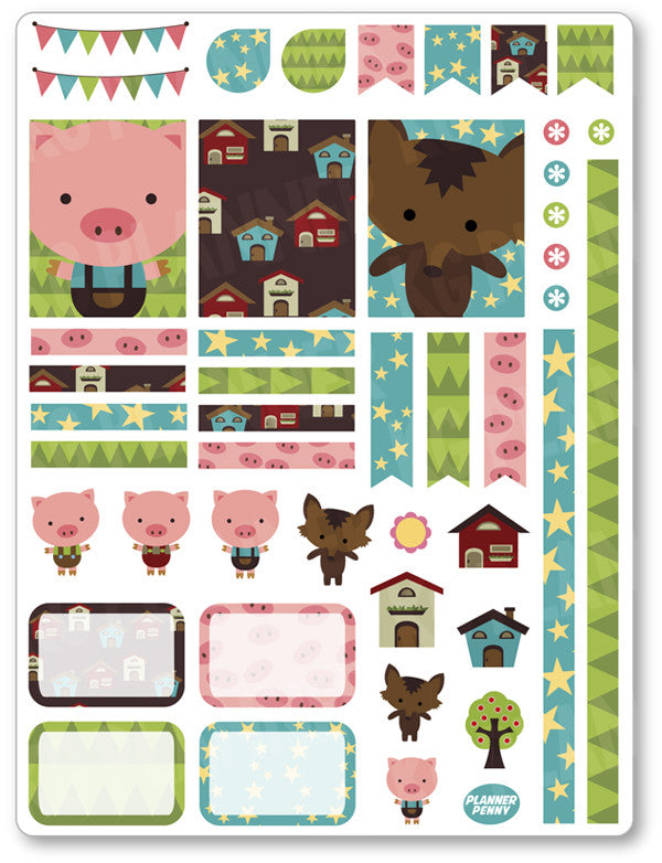 Little Pigs Decorating Kit PDF PRINTABLE Planner Stickers - Planner Penny