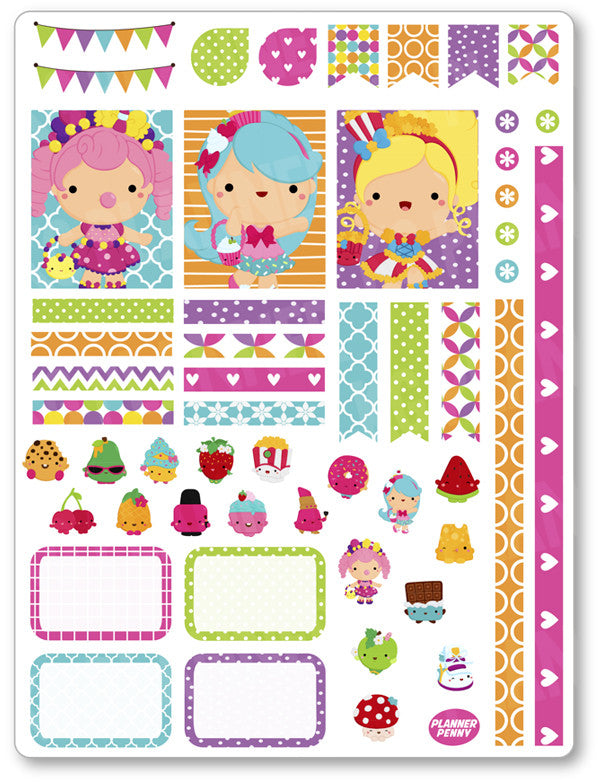 Little Shopper Girls Decorating Kit PDF PRINTABLE Planner Stickers - Planner Penny