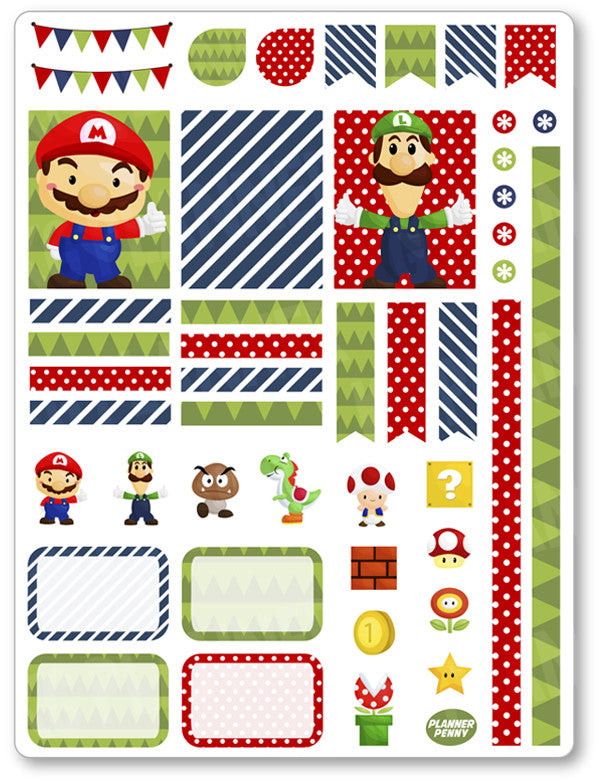 Mario Decorating Kit PDF PRINTABLE Planner Stickers - Planner Penny