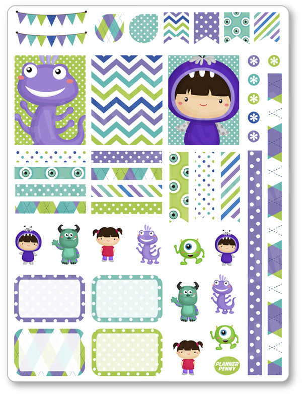 Monster Friends Decorating Kit PDF PRINTABLE Planner Stickers