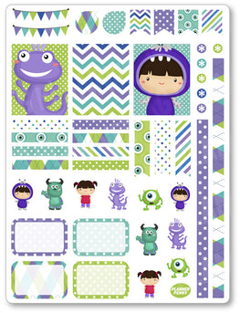Monster Friends Decorating Kit PDF PRINTABLE Planner Stickers - Planner Penny