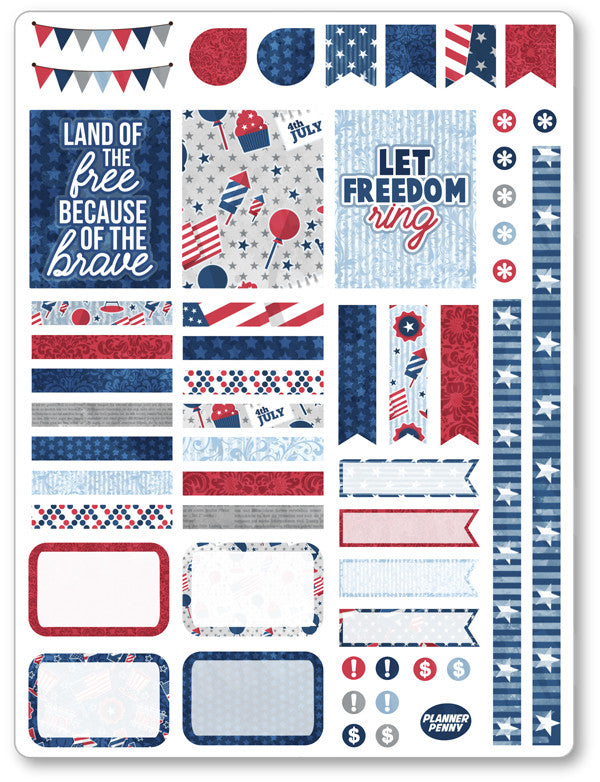 Old Glory Decorating Kit PDF PRINTABLE Planner Stickers