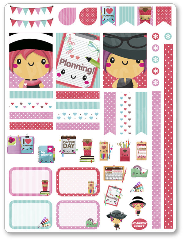 Planner Girl Decorating Kit PDF PRINTABLE Planner Stickers - Planner Penny