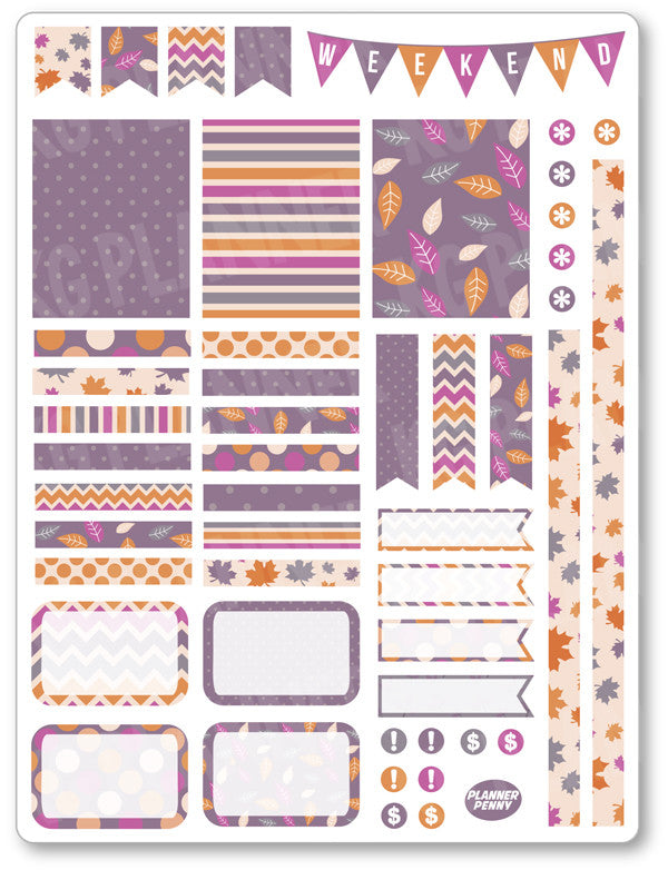 Purple Autumn Decorating Kit PDF PRINTABLE Planner Stickers