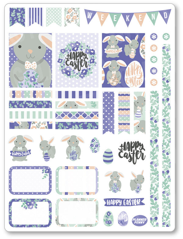 Purple Bunny Decorating Kit PDF PRINTABLE Planner Stickers - Planner Penny