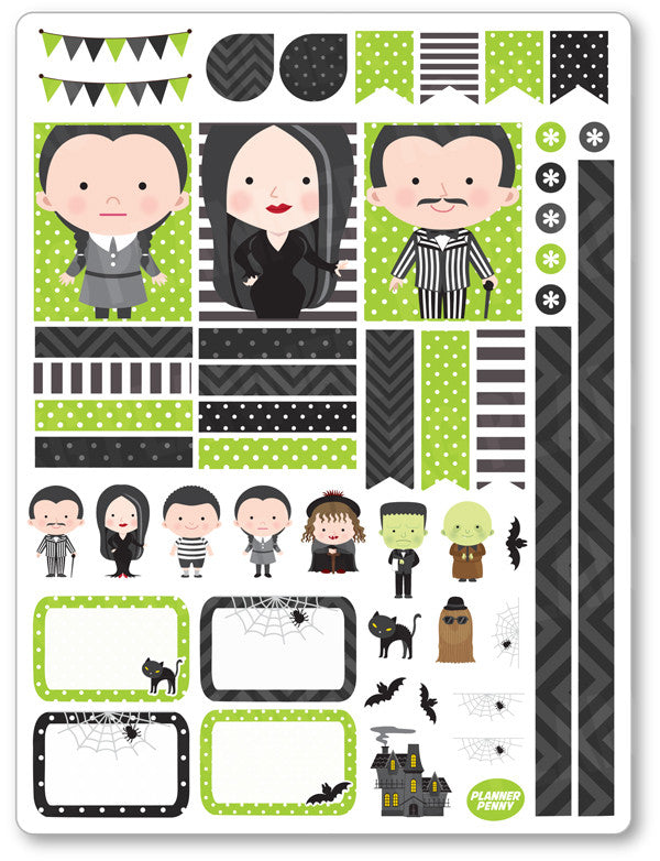 Spooky Family Decorating Kit PDF PRINTABLE Planner Stickers - Planner Penny