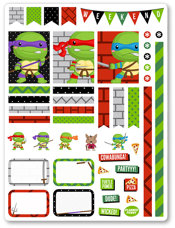 Turtle Ninjas Decorating Kit PDF PRINTABLE Planner Stickers